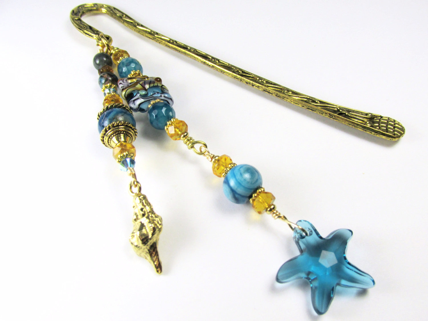 Beaded Bookmark with Grace Lampwork Turquoise and Gold beads, Blue Lace Agate stones with Swarovski Starfish pendant & Charms - Odyssey Creations