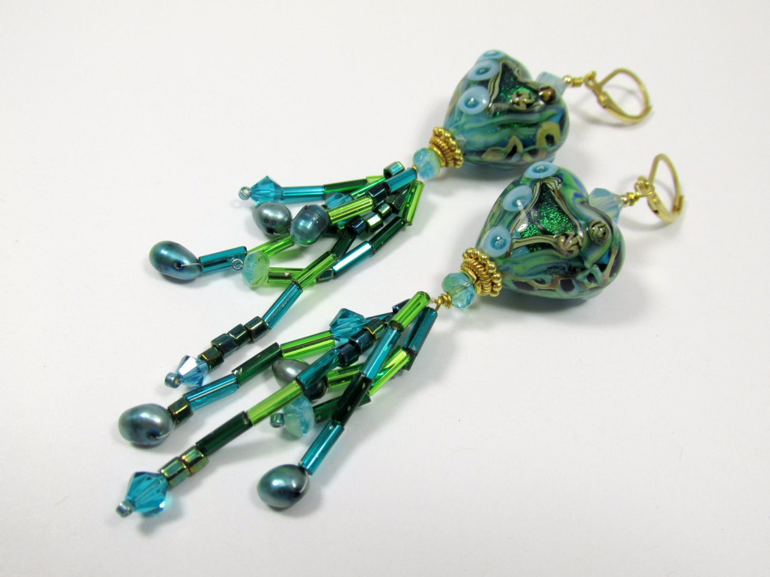 Green Emerald Pools Lampwork Glass Heart Necklace and Earring Set with Aqua Turquoise beaded fringe & Freshwater Pearls in 22k Gold Vermeil - Odyssey Creations