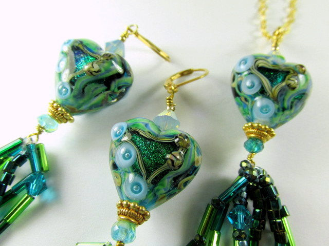 Green Emerald Pools Lampwork Glass Heart Necklace and Earring Set - Odyssey Creations