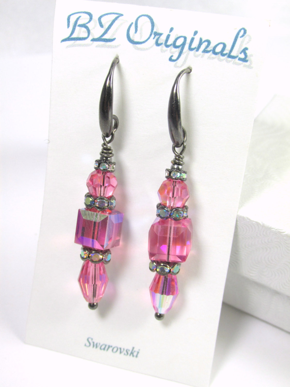 Pink Cube Earrings on Gunmetal with Swarovski Rose 6mm cubes, Swarovski Rose AB crystals Black Gunmetal AB crystal spacers on gunmetal wires - Odyssey Creations