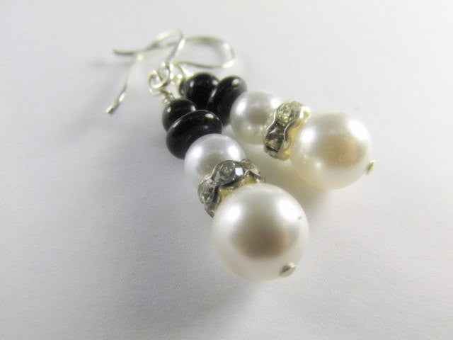 Mini Snowman Earrings on Fine Sterling Wires with Swarovski White Pearls and Crystals - Odyssey Creations