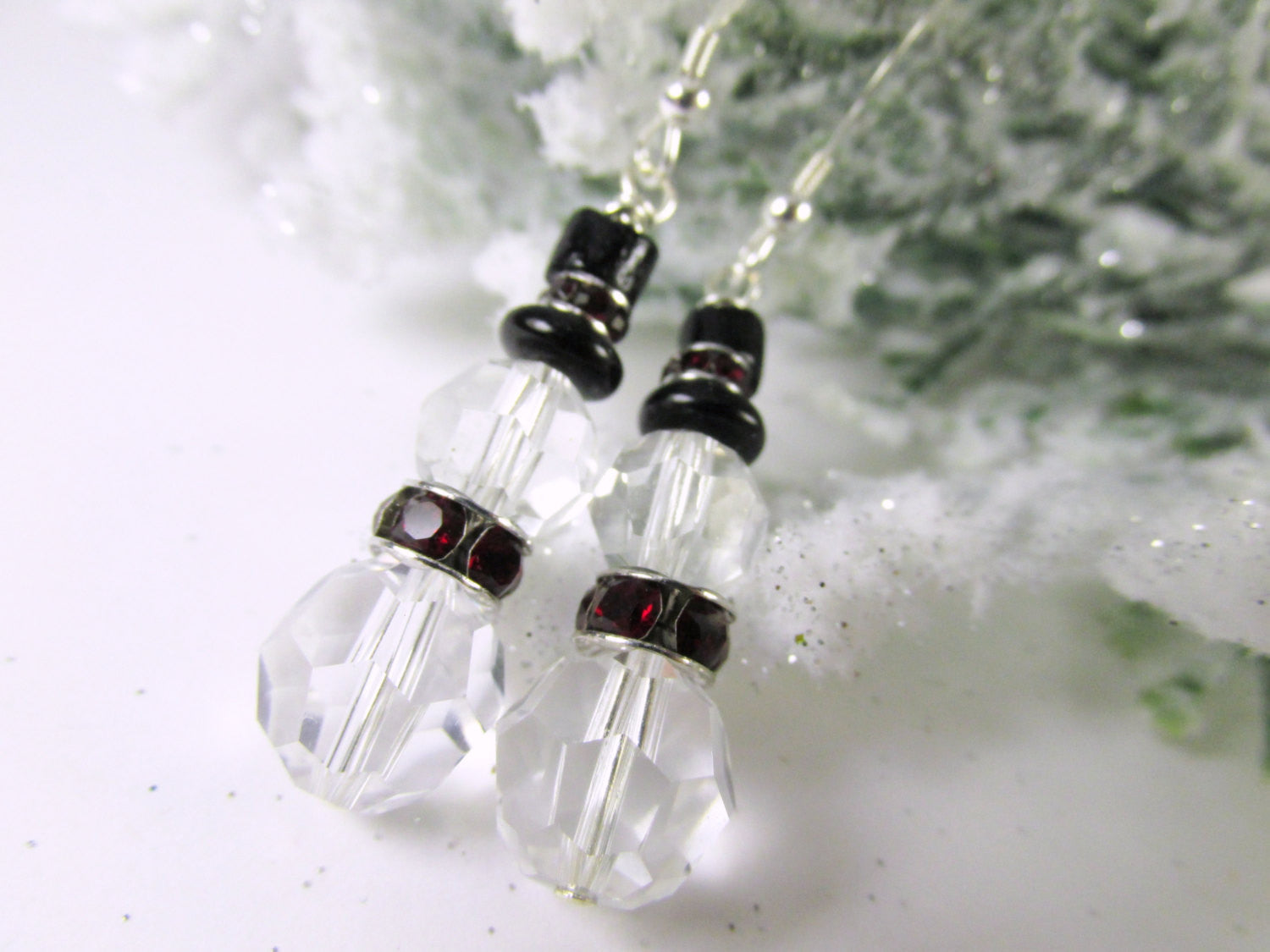 Crystal Clear, Dark Red and Black Hat Swarovski Snowman Earrings on Fine Sterling Silver Wires with Siam Crystal Rondelles, Winter Holiday - Odyssey Creations