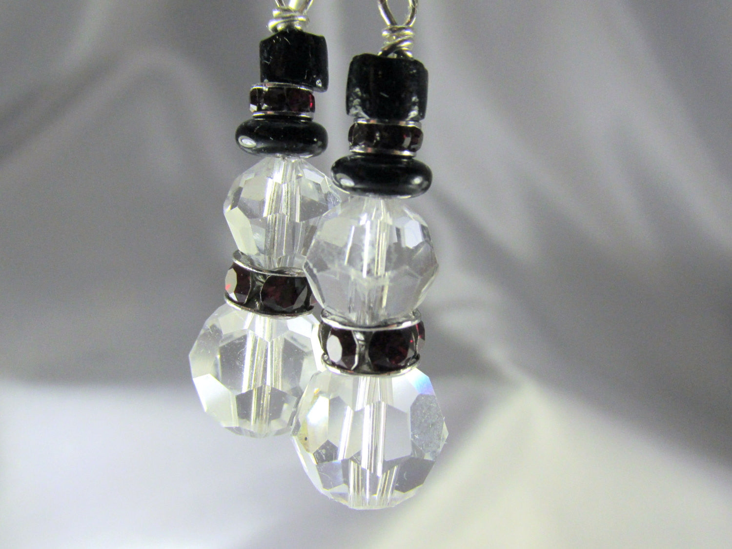 Crystal Clear, Dark Red and Black Hat Swarovski Snowman Earrings - Odyssey Creations