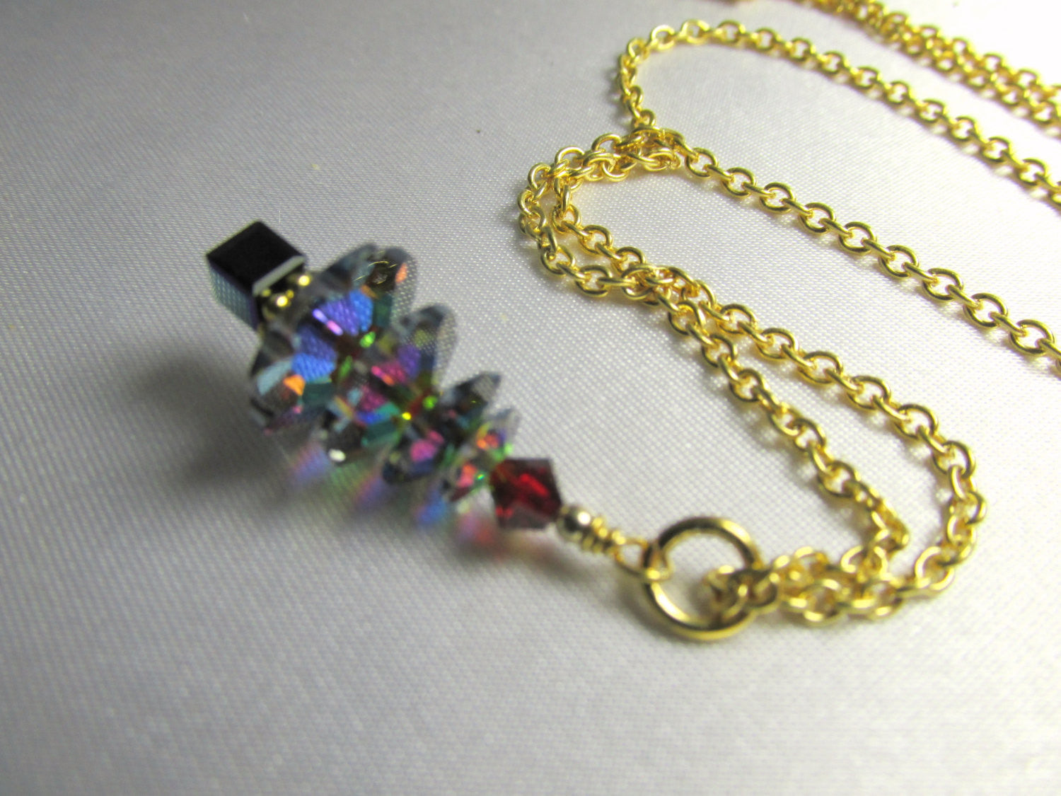 Christmas Tree Necklace or Pendant in Swarovski Vitrail Medium in Sterling or Gold Fill - Odyssey Creations