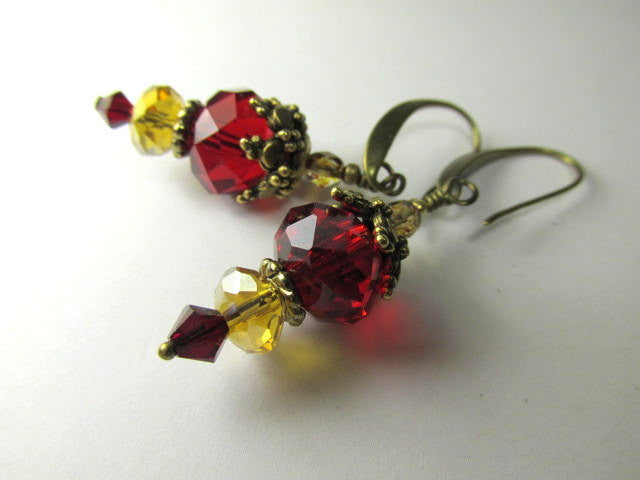Chunky Necklace and Earring Set in Marsala Dark Red and Gold on Brass - Odyssey Creations