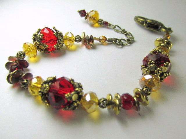 Marsala Dark Red and Gold Detailed Adjustable Bracelet in Antique Brass - Odyssey Creations