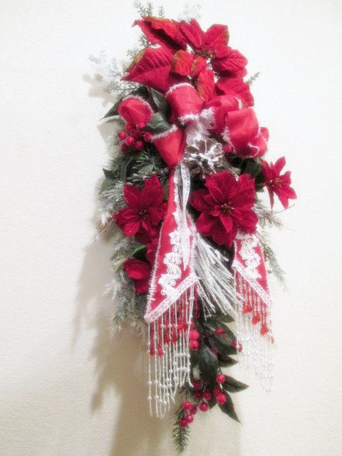 Red and White Thick Victorian Christmas Door Swag with Beaded Bow - Odyssey Creations