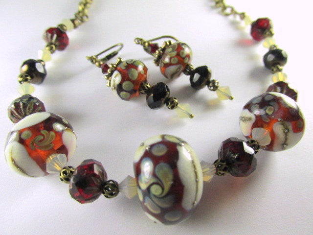 Lampwork Necklace and Earring Set in Marsala Red with Czech and Swarovski Crystals on Brass - Odyssey Creations