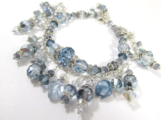 Swarovski Bracelet in Light Blue and Shades of Gray in Sterling Silver with adjustable chain and lobster claw clasp - Odyssey Creations