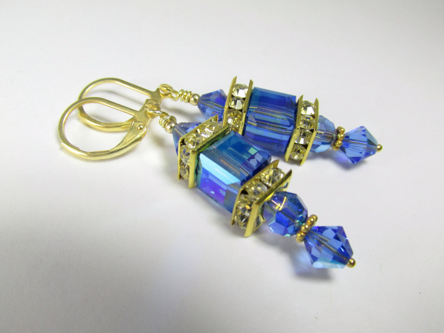 Royal Blue and Gold Earrings in 8mm Swarovski Sapphire AB Cubes on 14k Gold Fill earring leverbacks - Odyssey Creations