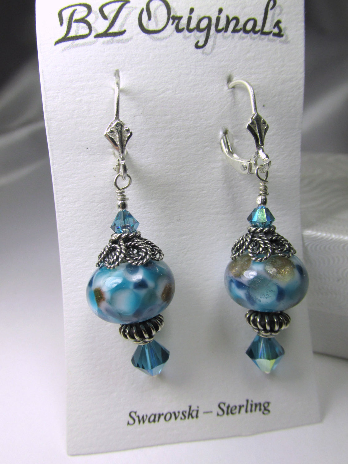 Blue Turquoise Lampwork Glass Earrings with Bali Sterling Silver findings and fine sterling silver leverback earring wires - Odyssey Creations