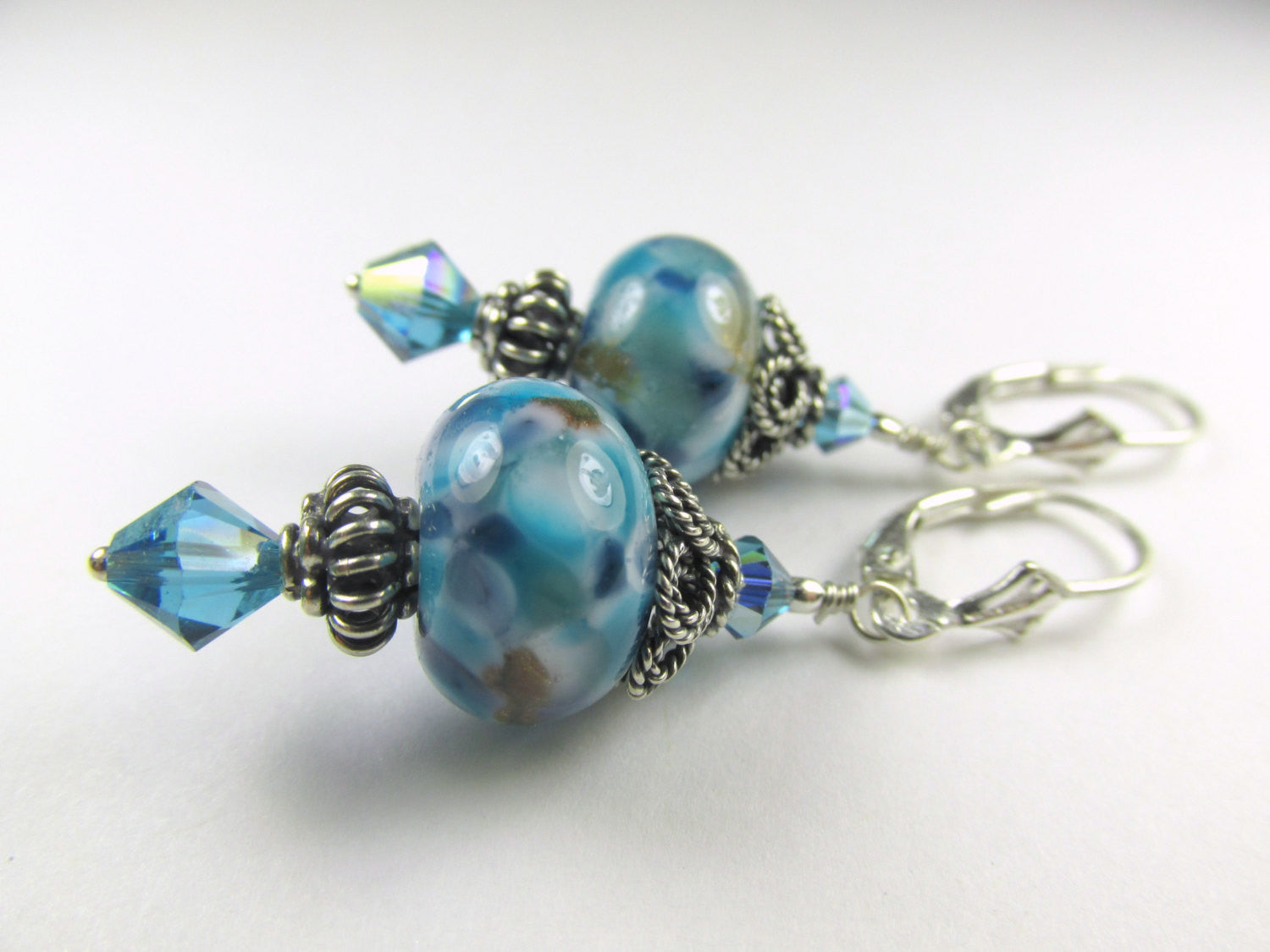 Blue Turquoise Lampwork Glass Earrings on Bali Sterling Silver - Odyssey Creations