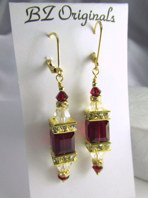 Marsala Dark Red Siam and Clear Swarovski Cube Earrings on 14k Gold Fill earring leverbacks - Odyssey Creations