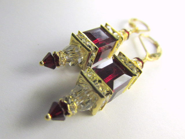 Burgundy and Clear Swarovski Cube Earrings on 14k Gold Fill earring leverbacks - Odyssey Creations