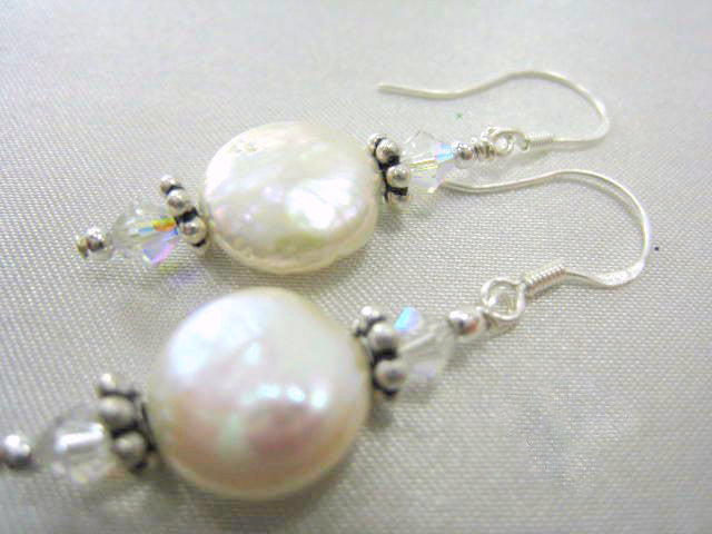 White Freshwater Pearl Earrings with Pearl Coins and Swarovski Crystal AB Crystals on Sterling Silver Earring Wires - Odyssey Creations