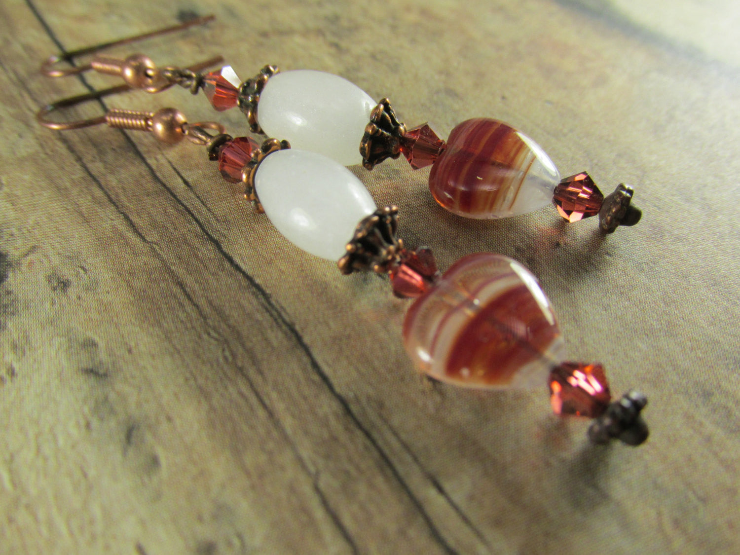 White Quartz and Brick Red and White Heart Earrings with Swarovski Crystal accents on Copper - Odyssey Creations