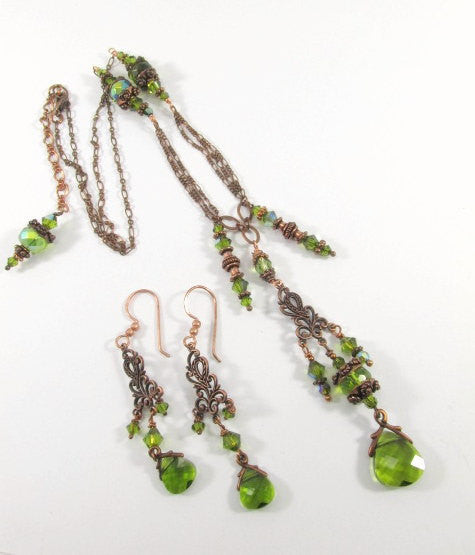 Long Olive Green and Copper Necklace and Chandelier Earring Set with Swarovski Crystals and Filigree Settings - Odyssey Creations