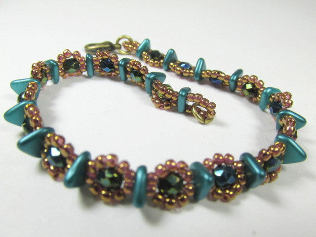 Teal Turquoise and Bronze Gold Beaded Bracelet handmade with Czech Glass Triangles - Odyssey Creations