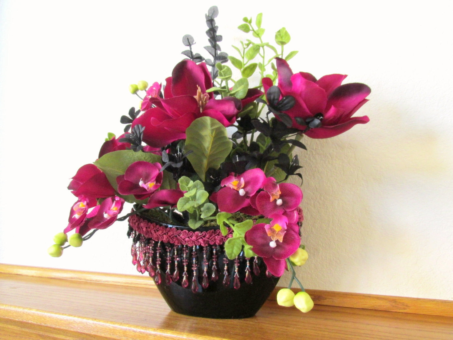 Burgundy Fuchsia and Black Silk Floral Arrangement with Silk Magnolias, Orchids, Eucalyptus and Victorian Accents - Odyssey Creations
