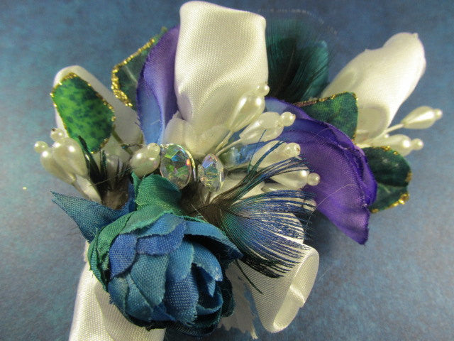 Hair Fascinator in Aqua Turquoise, Purple and White Pearl Accents - Odyssey Creations
