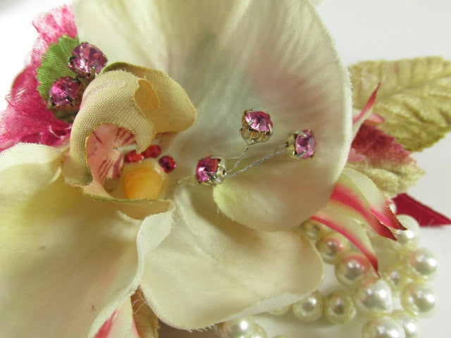Bright Pink and Ivory Cymbidium Orchids with Lilies, Roses Wrist Corsage and Boutonierre Prom Set - Odyssey Creations