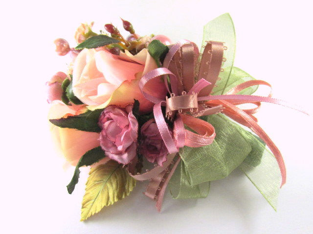 Cottage Rose Boutonniere or Corsage in Mauve, Peach Blush, Olive Green - Odyssey Creations