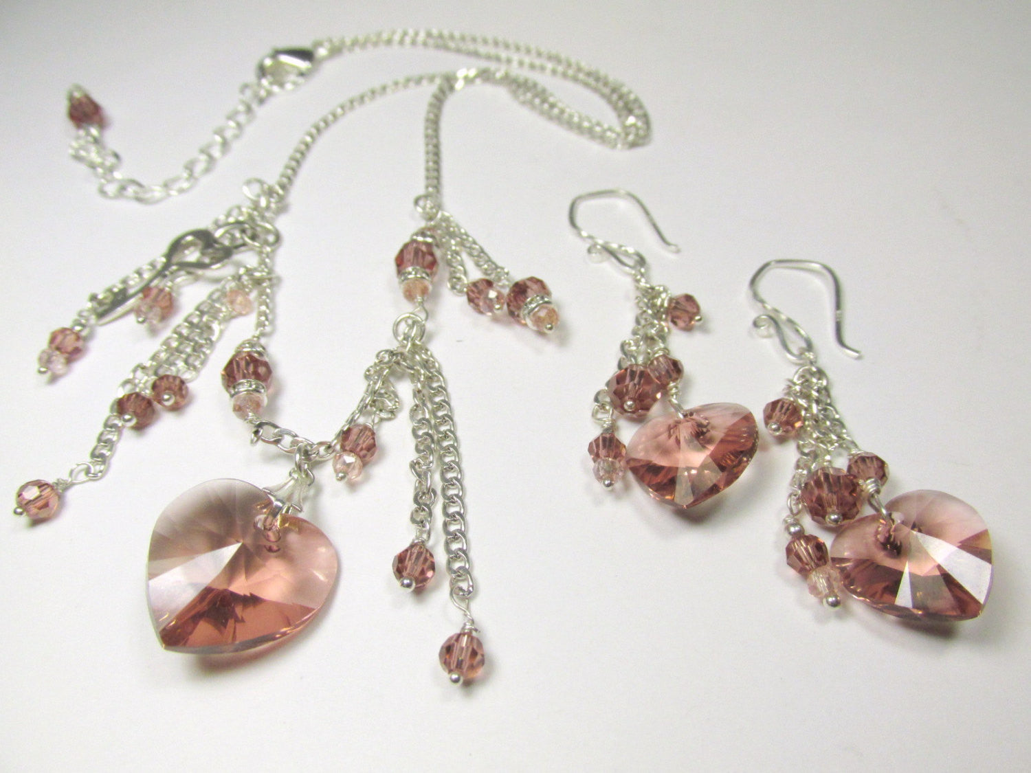 Blush Rose Swarovski Heart Asymetrical Fringed Necklace and Earring Set on Sterling Silver (NS-SS1610) - Odyssey Creations