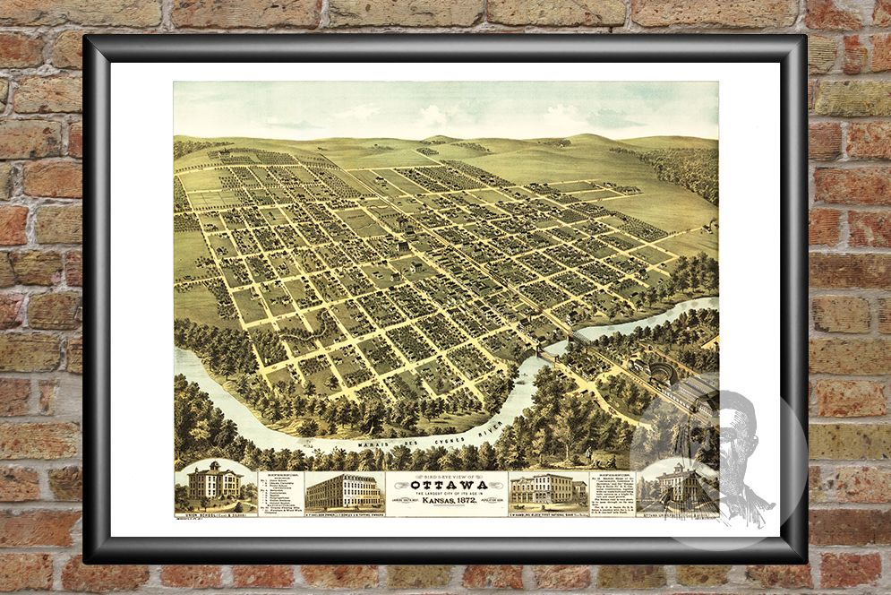 Ottawa, KS Historical Map - 1872