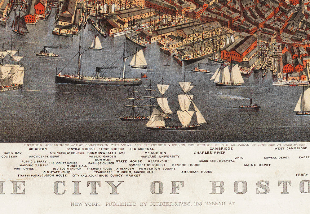 Boston, MA Historical Map - 1873 - Ted's Vintage Maps