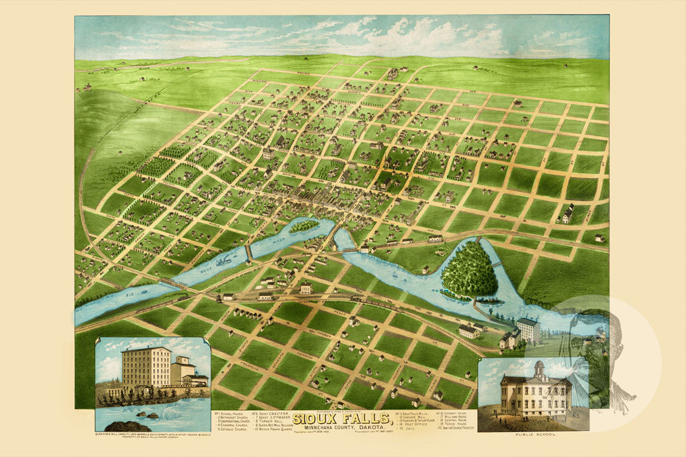Sioux Falls, SD Historical Map - 1881