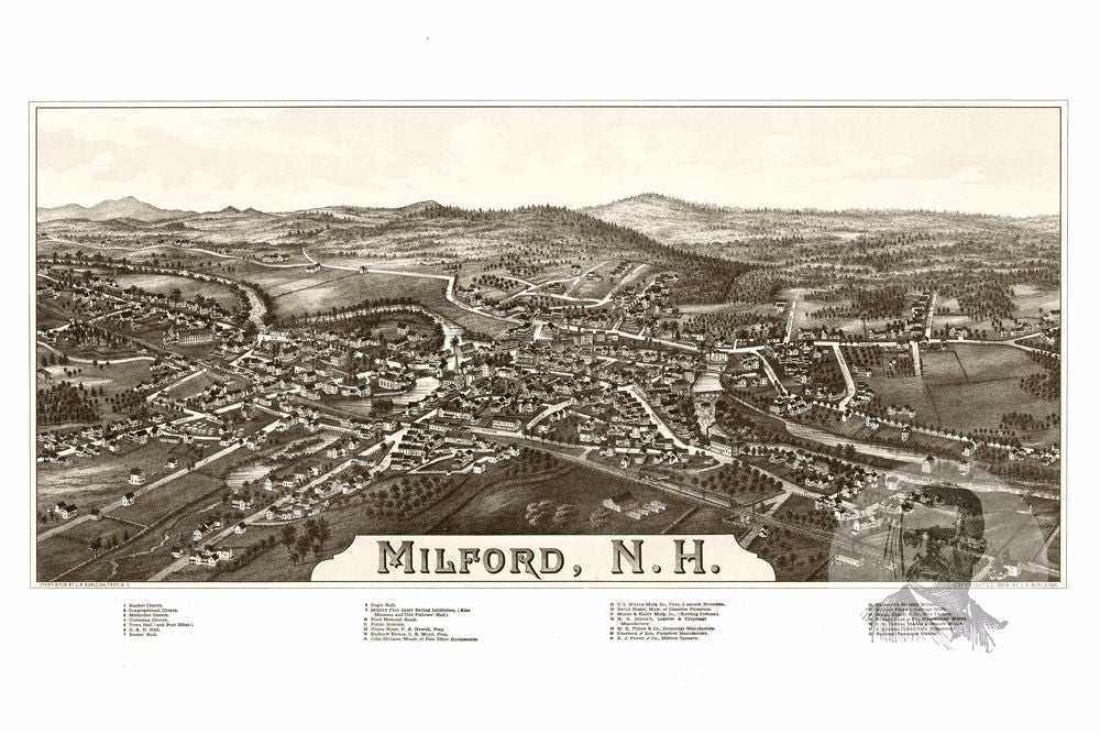 Milford, NH Historical Map - 1886