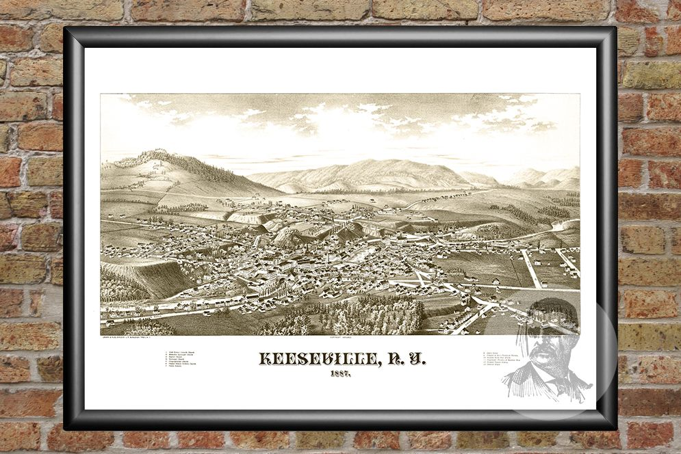 Keeseville, NY Historical Map - 1887