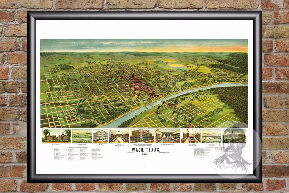 Waco, TX Historical Map - 1892