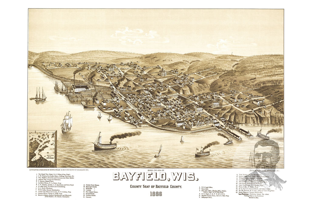 Bayfield, WI Historical Map - 1886 - Ted's Vintage Maps
