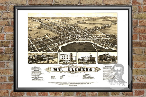 Mt. Clemens, MI Historical Map - 1881