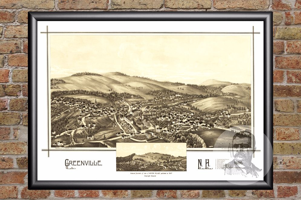 Greenville, NH Historical Map - 1886