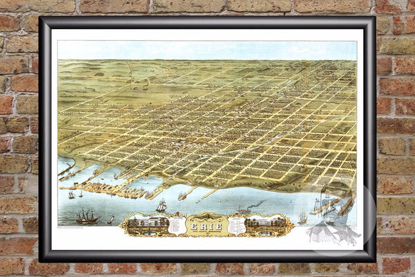 Erie, PA Historical Map - 1870