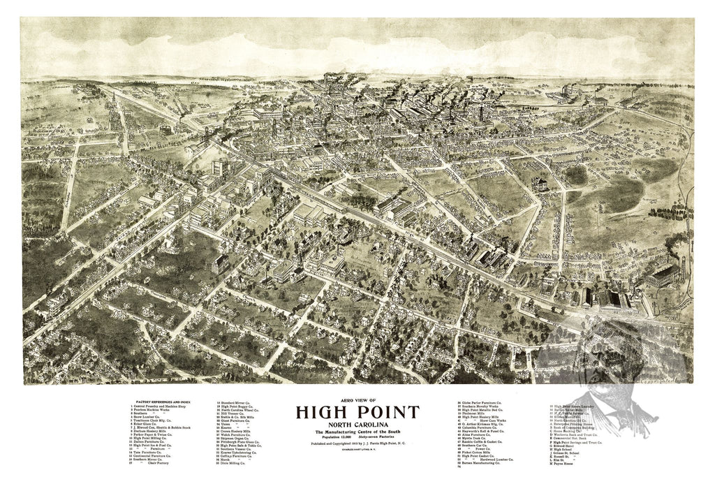 High Point, NC Historical Map - 1913 - Ted's Vintage Maps