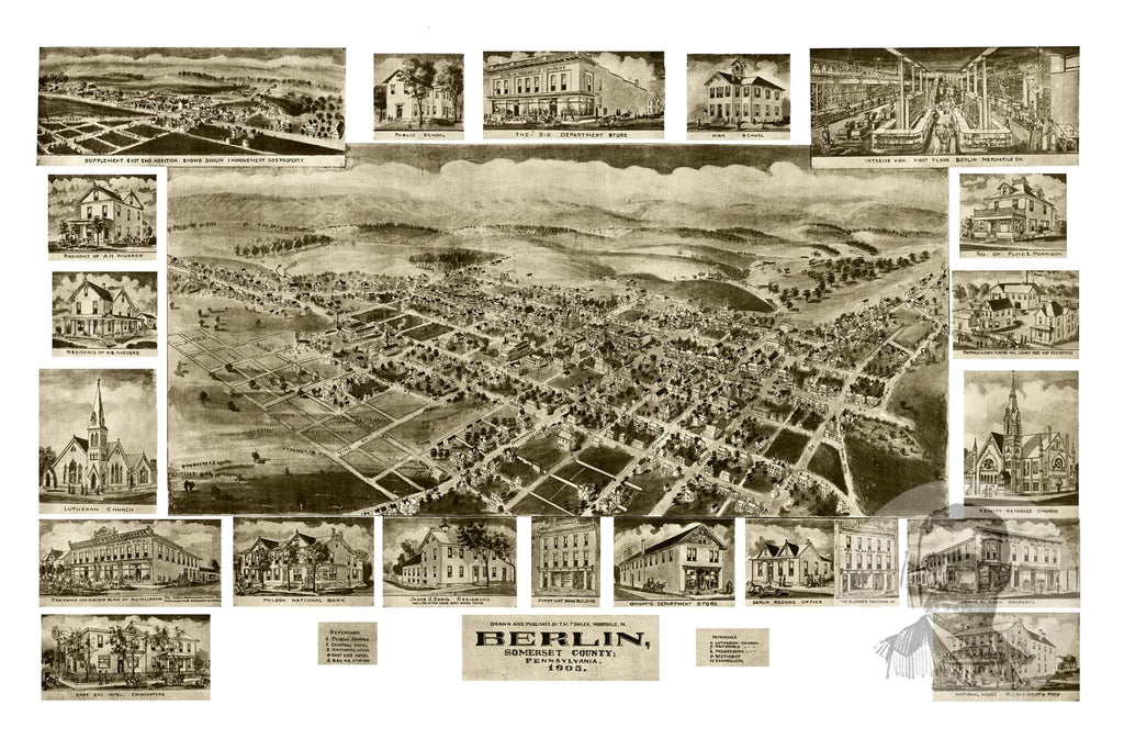 Berlin, PA Historical Map - 1905 - Ted's Vintage Maps
