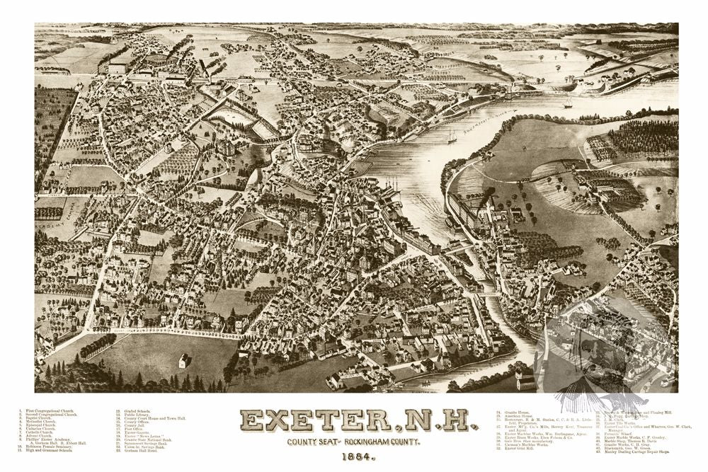 Exeter, NH Historical Map - 1884 - Ted's Vintage Maps