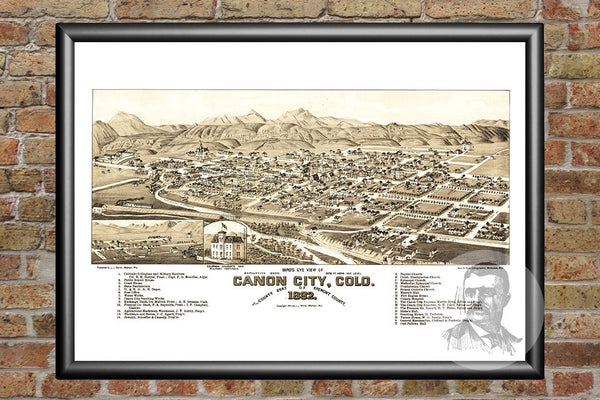 Canon City, CO Historical Map - 1882