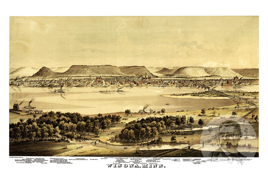 Winona, MN Historical Map - 1874