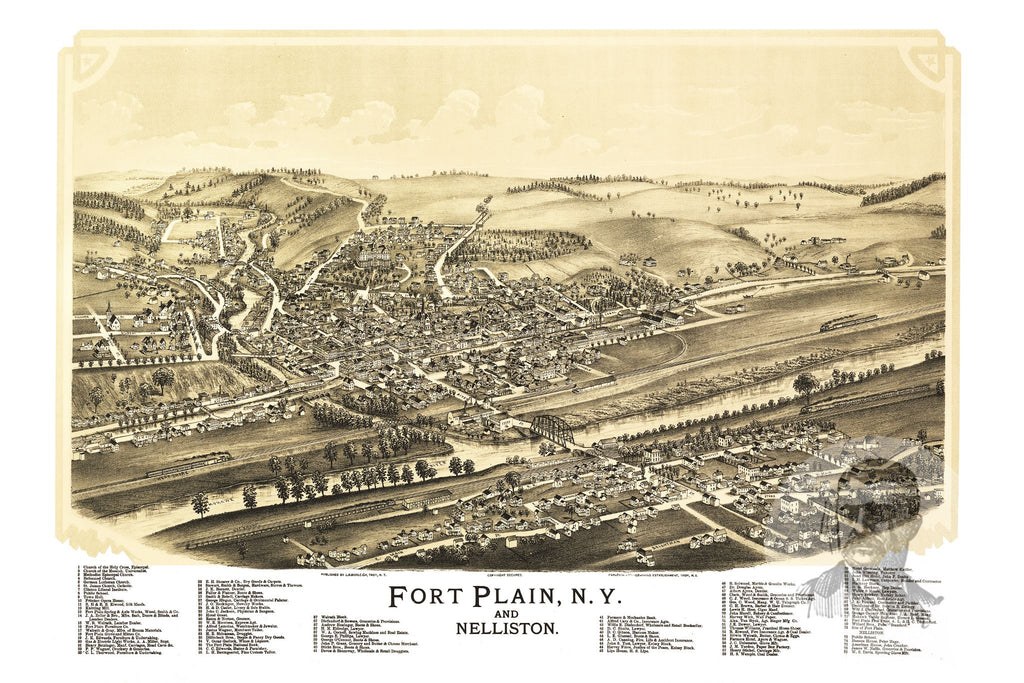 Fort Plain, NY Historical Map - 1891 - Ted's Vintage Maps