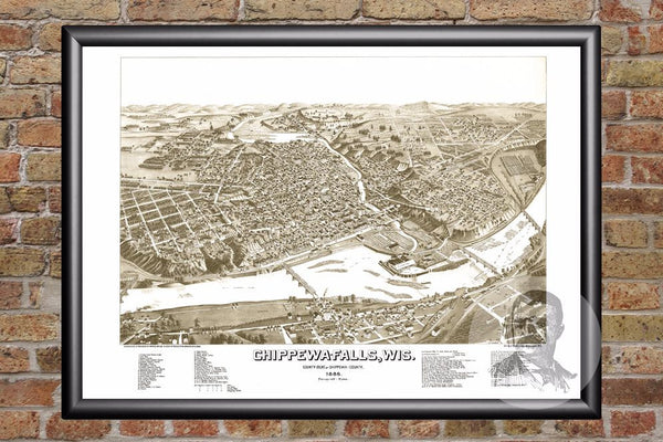 Chippewa Falls, WI Historical Map - 1886