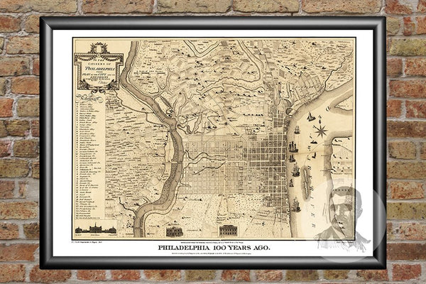 Philadelphia, PA Historical Map - 1875