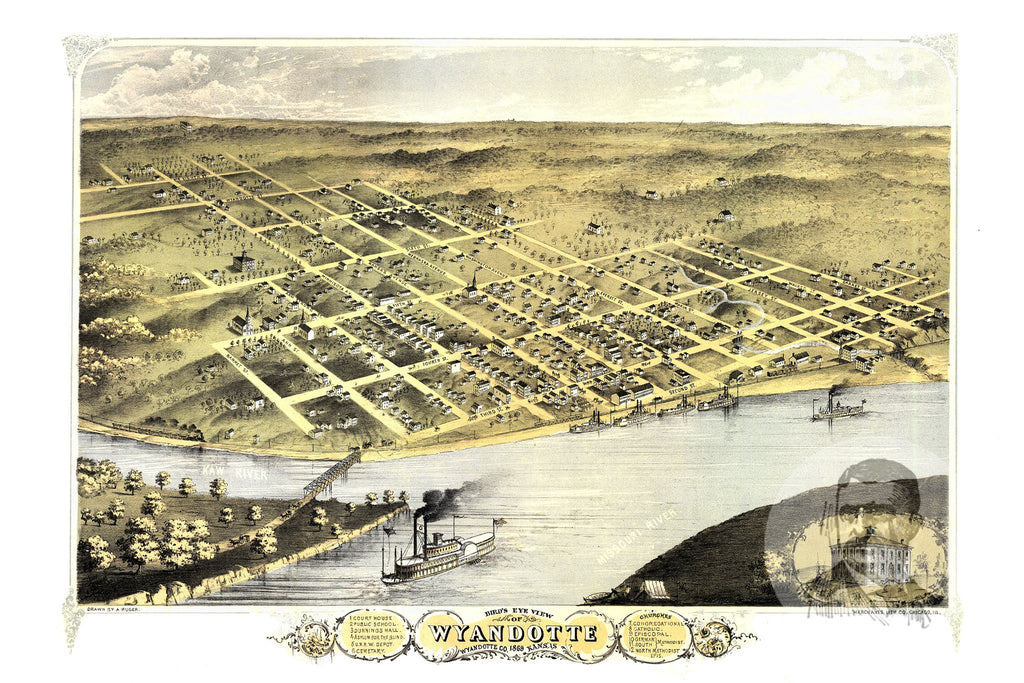 Wyandotte, KS Historical Map - 1869