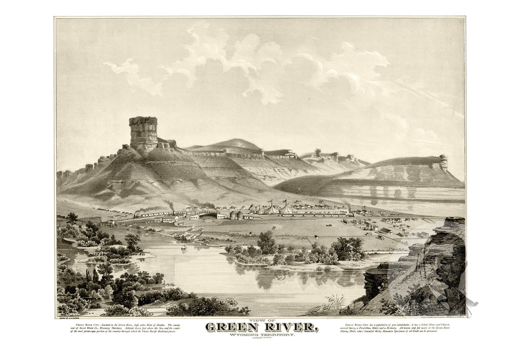 Green River, WY Historical Map - 1875 - Ted's Vintage Maps