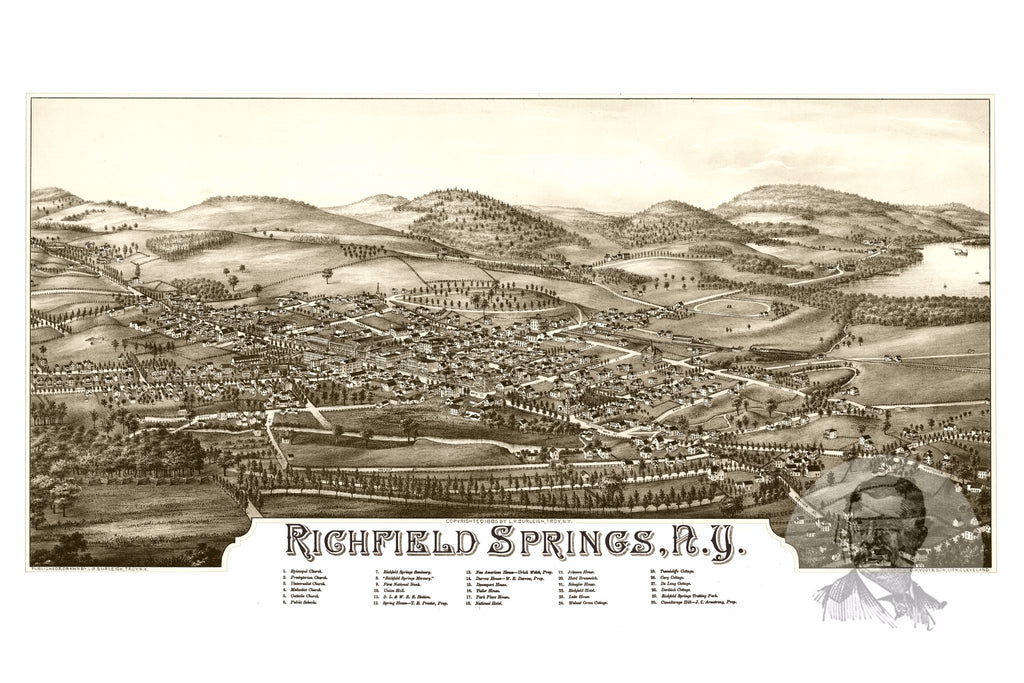 Richfield Springs, NY Historical Map - 1885