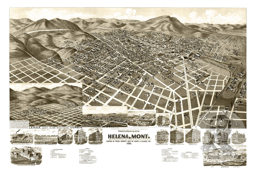 Helena, MT Historical Map - 1890 - Ted's Vintage Maps