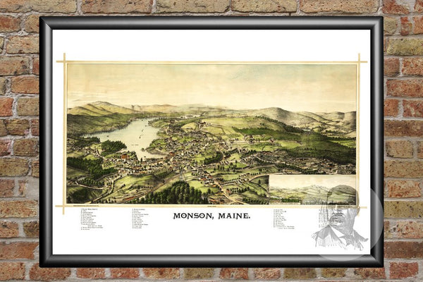 Monson, ME Historical Map - 1889